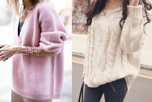 женские свитера 2019-2020: вязаный розового и кремового цвета
