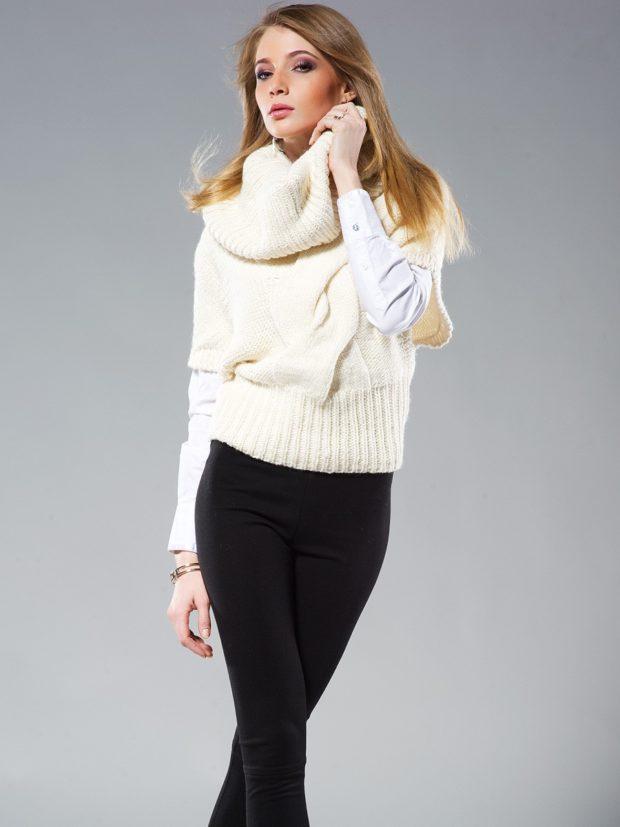 Модные женские свитера 2019-2020: вязаный белого цвета