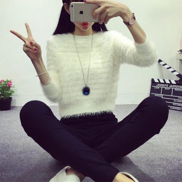 женские свитера 2019-2020: белого цвета