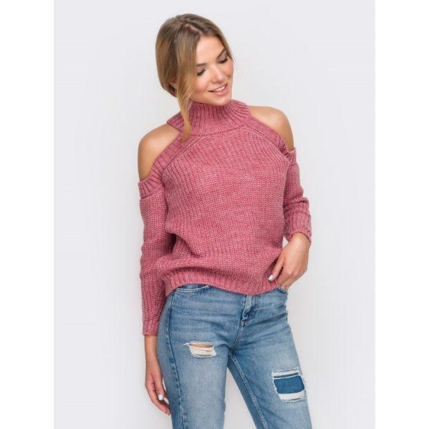 Модные свитера 2019-2020: вязаный розового цвета