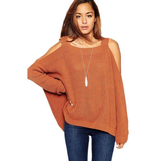 Модные свитера 2019-2020: вязаный оранжевого цвета