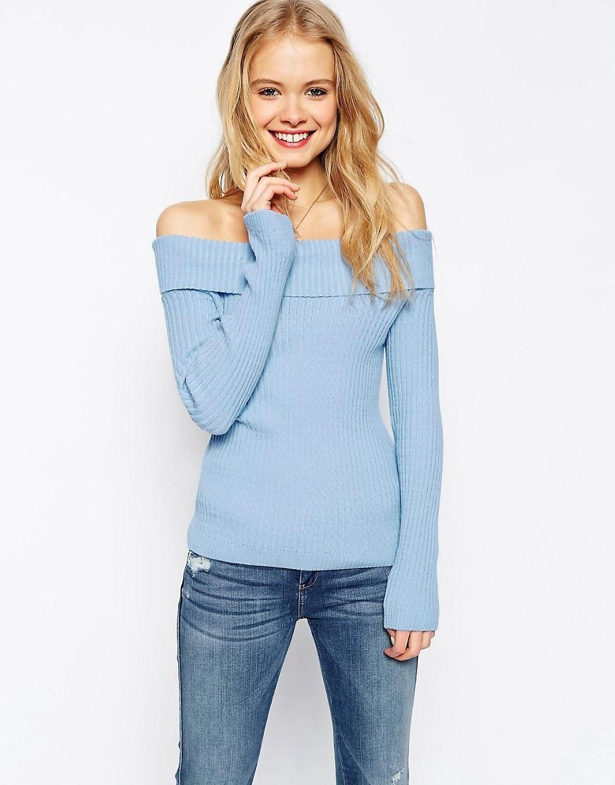 Модные свитера 2018 женские: вязаный свитер голубого цвета