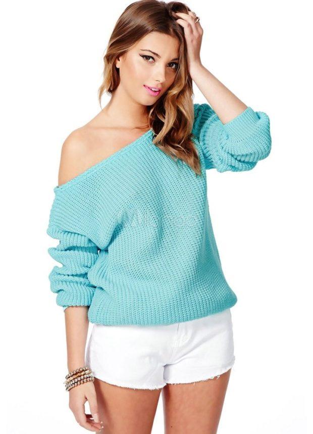 Модные свитера 2019-2020: вязаный бирюзового цвета
