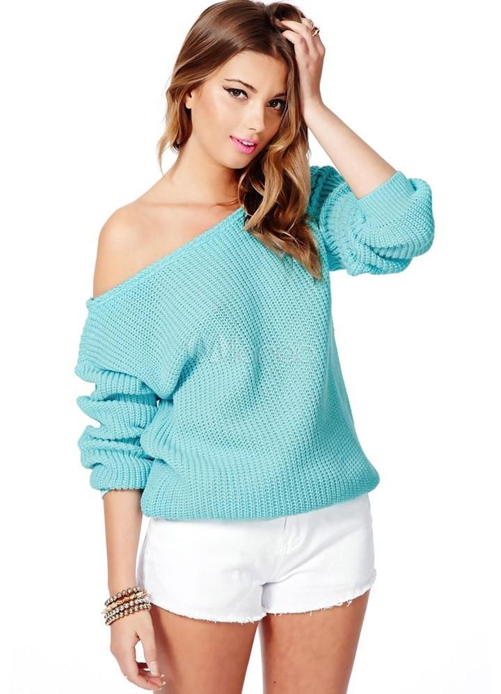 Модные свитера 2018 женские: вязаный свитер бирюзового цвета