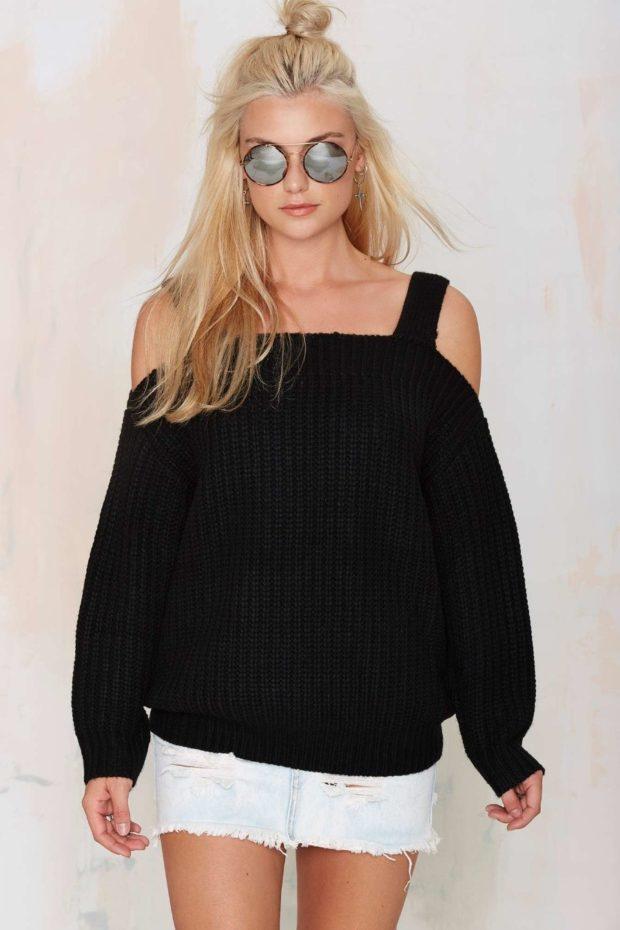 Стильные свитера 2019-2020: вязаный черного цвета