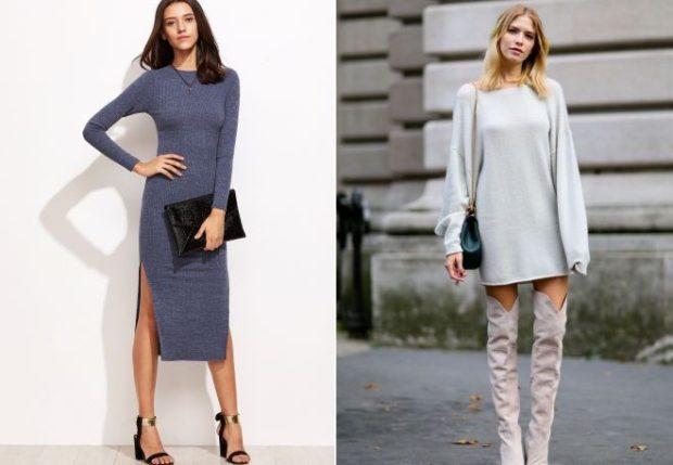 Стильные свитера 2019-2020: вязаный платье серого и белого цвета