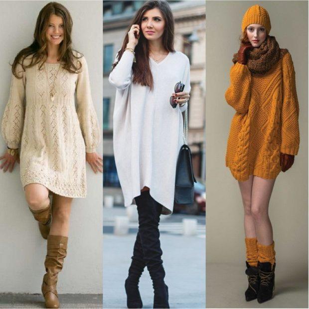 Стильные свитера 2019-2020: вязаный платье кремового белого оранжевого цвета