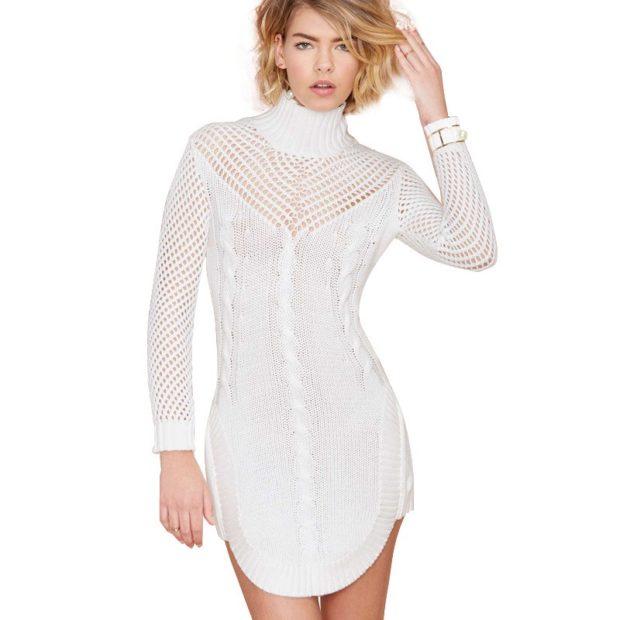 Стильные свитера 2019-2020: вязаный платье белого цвета
