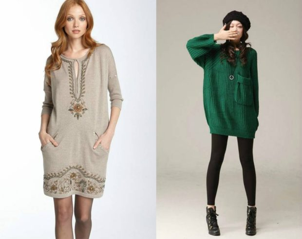 Модные свитера: вязаный платье серого зеленого цвета