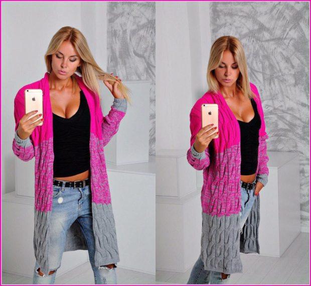Модные свитера: вязаный кардиган розового цвета