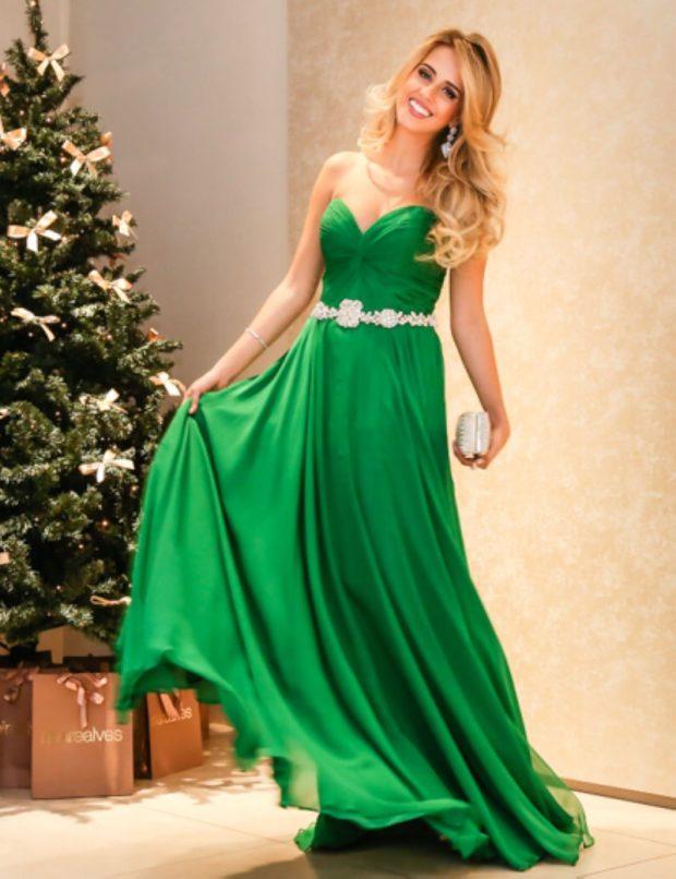 длинные платья на выпускной 2019: зеленое бюстье