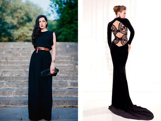 длинные платья на выпускной 2019: черное без плеч спина открыта
