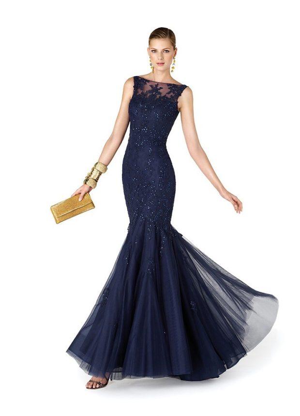 платья на выпускной 2019 в пол: русалка синее юбка фатин без плеч