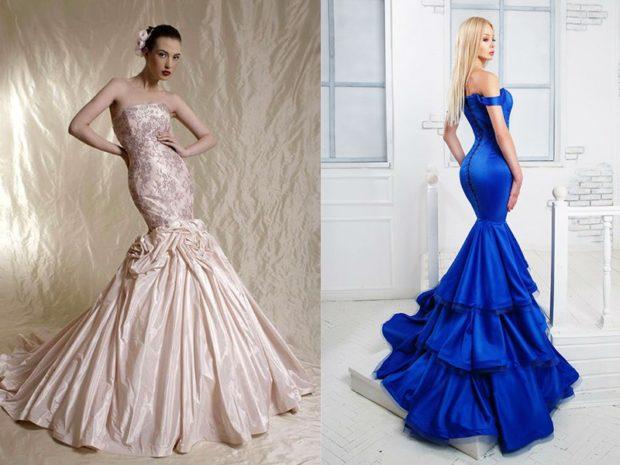 платья на выпускной 2019 в пол: русалка бежевое бюстье синее юбка с воланами
