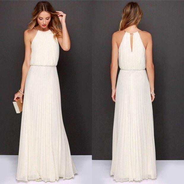 выпускные платья 2019 фото длинные: белое плечи открыты плиссировано