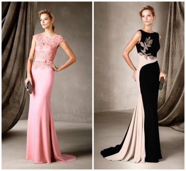 выпускные платья 2019 фото длинные: розовое кружевной верх черное с белым без рукава