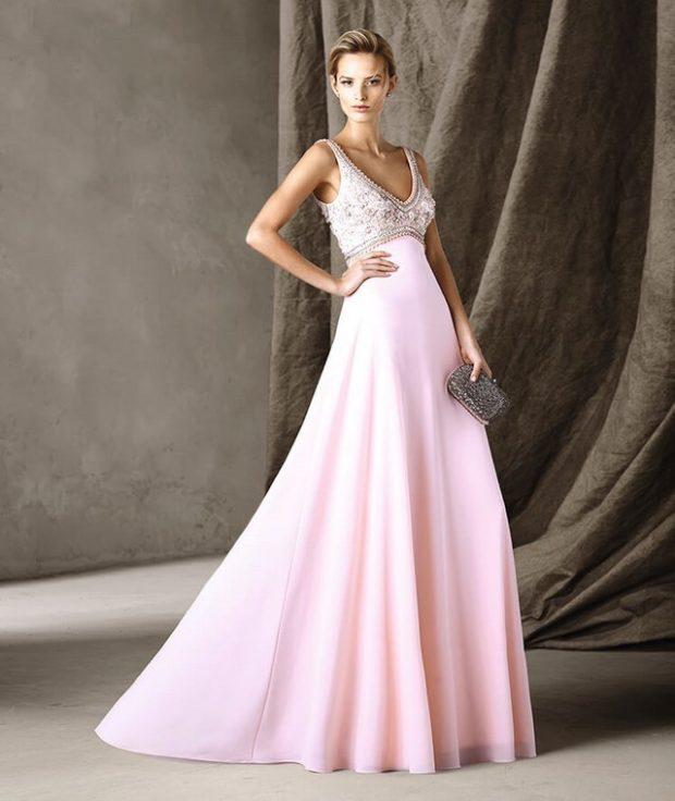 выпускные платья 2019 фото длинные: розовая юбка верх из бисера
