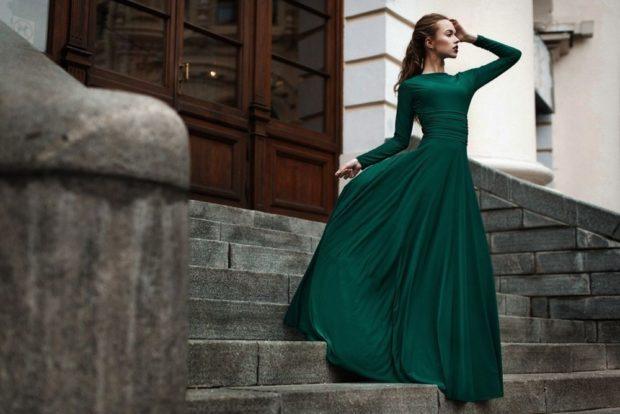 выпускные платья 2019 фото длинные: зеленое рукав длинный