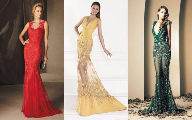 платье в пол на выпускной 2019: русалка красное желтое зеленое без плеч