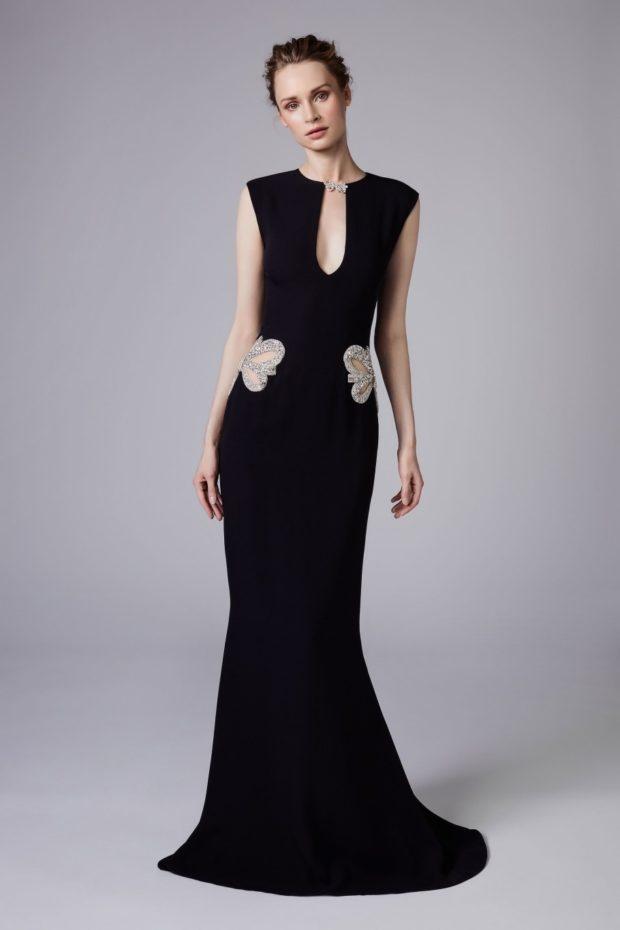 платье в пол на выпускной 2019: русалка черное с вырезом V