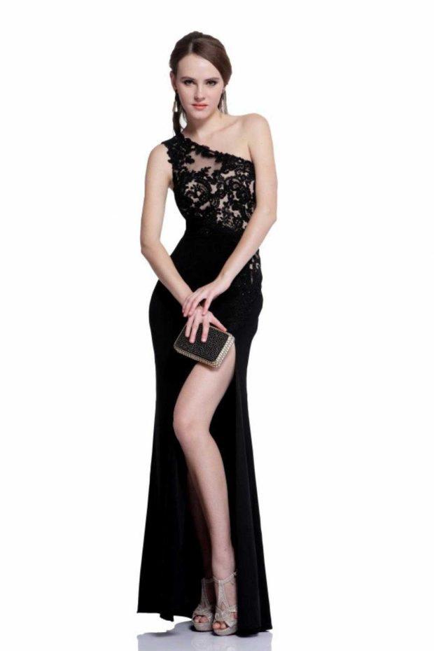 длинные вечерние платья на выпускной 2019: на одно плечо черное с кружевом вырезом на всю ногу