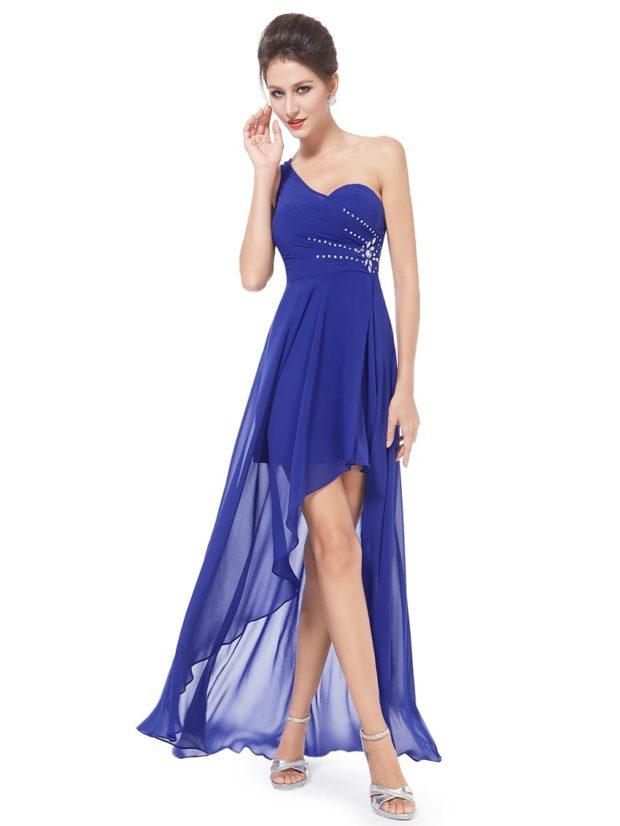 длинные вечерние платья на выпускной 2019: на одно плечо синее шифоновый шлейф