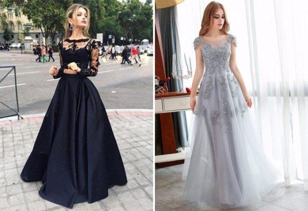 платья в пол на выпускной: черное пышная юбка кружевной верх серебристое блестящее
