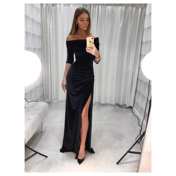 длинные вечерние платья на выпускной 2019: с разрезом черное рукав 3/4 плечи открыты