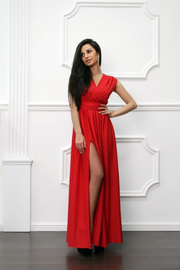 красивые платья на выпускной в пол: с разрезом красное длинное