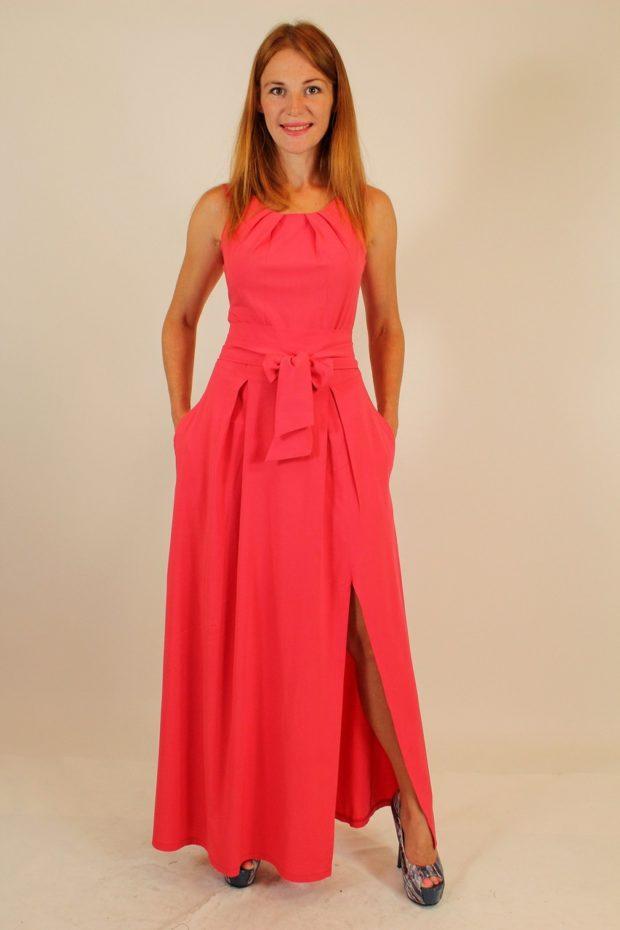красивые платья на выпускной в пол: с разрезом красное с поясом без рукава