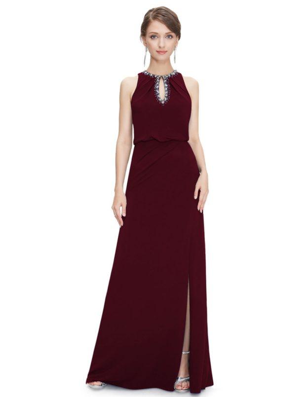 красивые платья на выпускной в пол: с разрезом бордовое без рукава