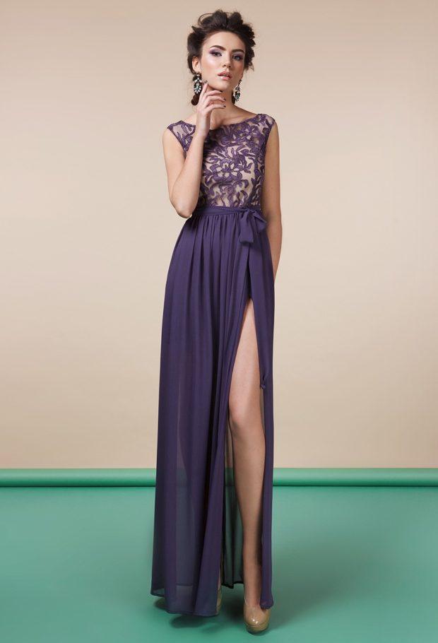 красивые платья на выпускной в пол: с разрезом фиолетовое с кружевом
