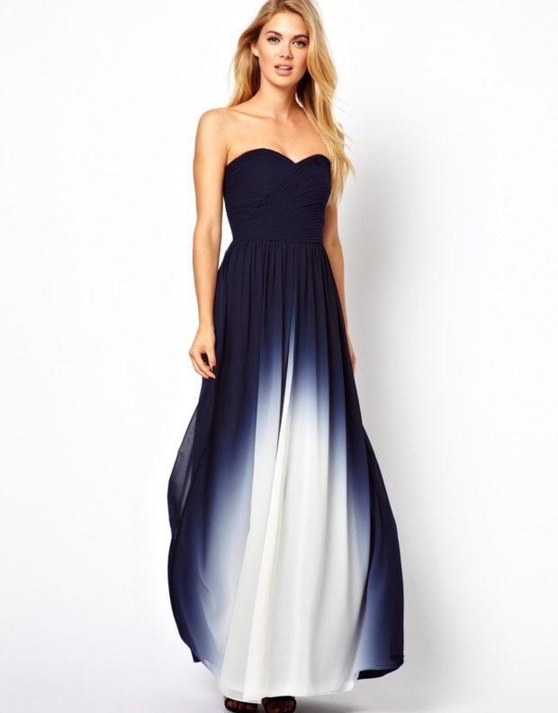 красивые платья на выпускной в пол: бюстье синее с белым