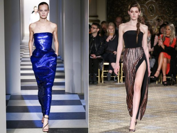 выпускные платья 2019 года длинные: бюстье синее черное с коричневым