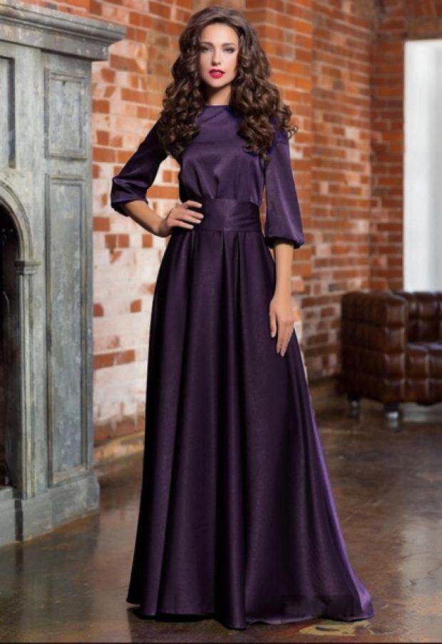 выпускные платья 2019 года длинные: темно-фиолетовое рукав 3/4 с поясом