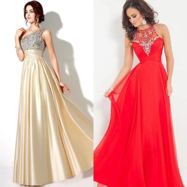 Вечерние платья 2019: короткие на выпускной золотистое и красное