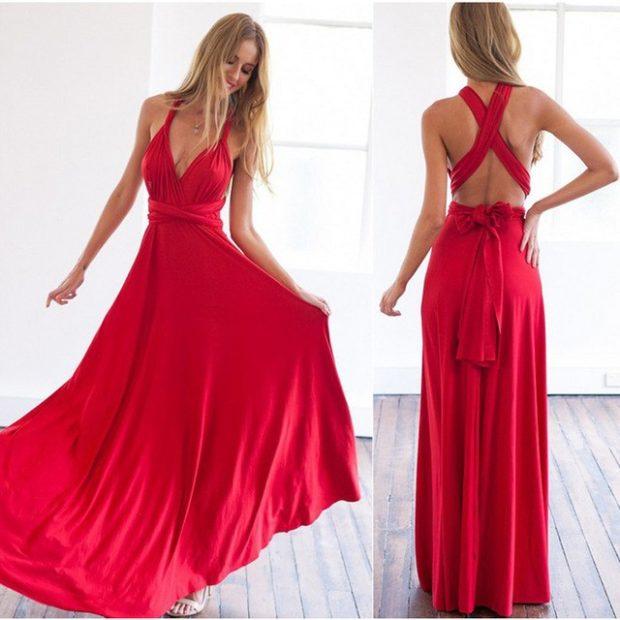 Вечерние платья 2019: короткие на выпускной:с откровенным лифом красное