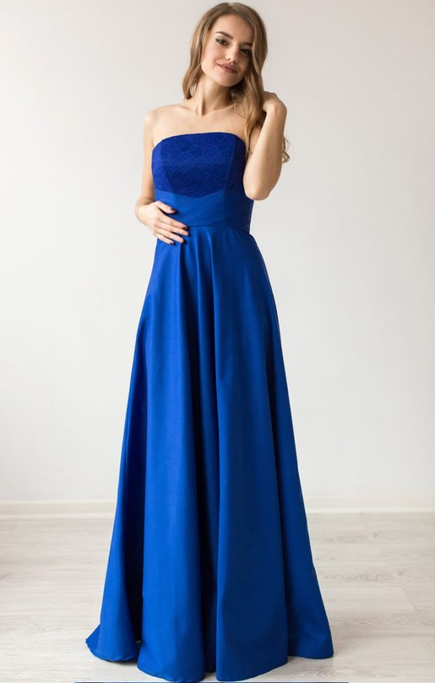 короткие платья на выпускной 2019: синего цвета