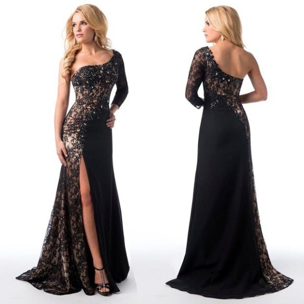 Вечерние платья 2019 фото новинки короткие на выпускной: платье со шлейфом на одно плече ,черного цвета