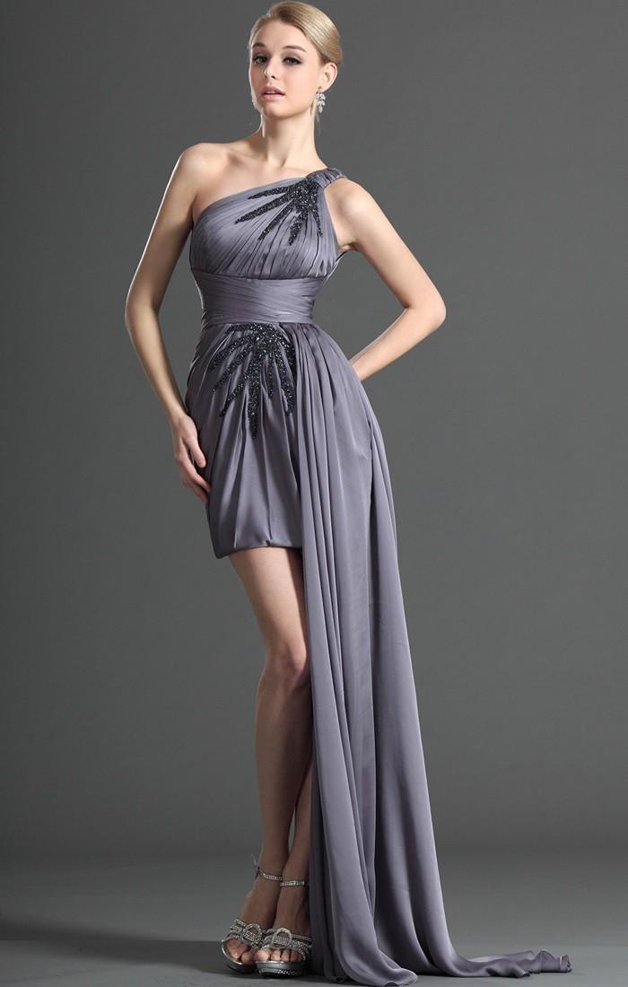 Вечерние платья 2019 короткие на выпускной: платье со шлейфом на одну сторону,серого цвета