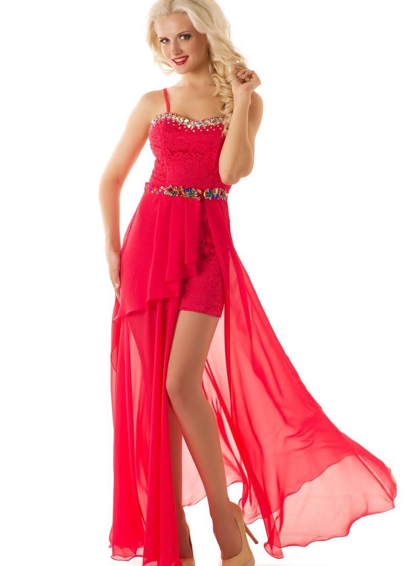 Вечерние платья 2019 короткие на выпускной: платье со шлейфом ,красного цвета