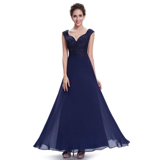 Вечерние платья 2019 короткие на выпускной: с открытым верхом,синее