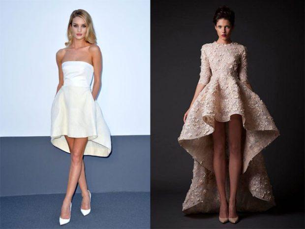 Вечерние платья 2019 фото новинки короткие на выпускной: платье с асимметричным шлейфом,белого и золотого цвета