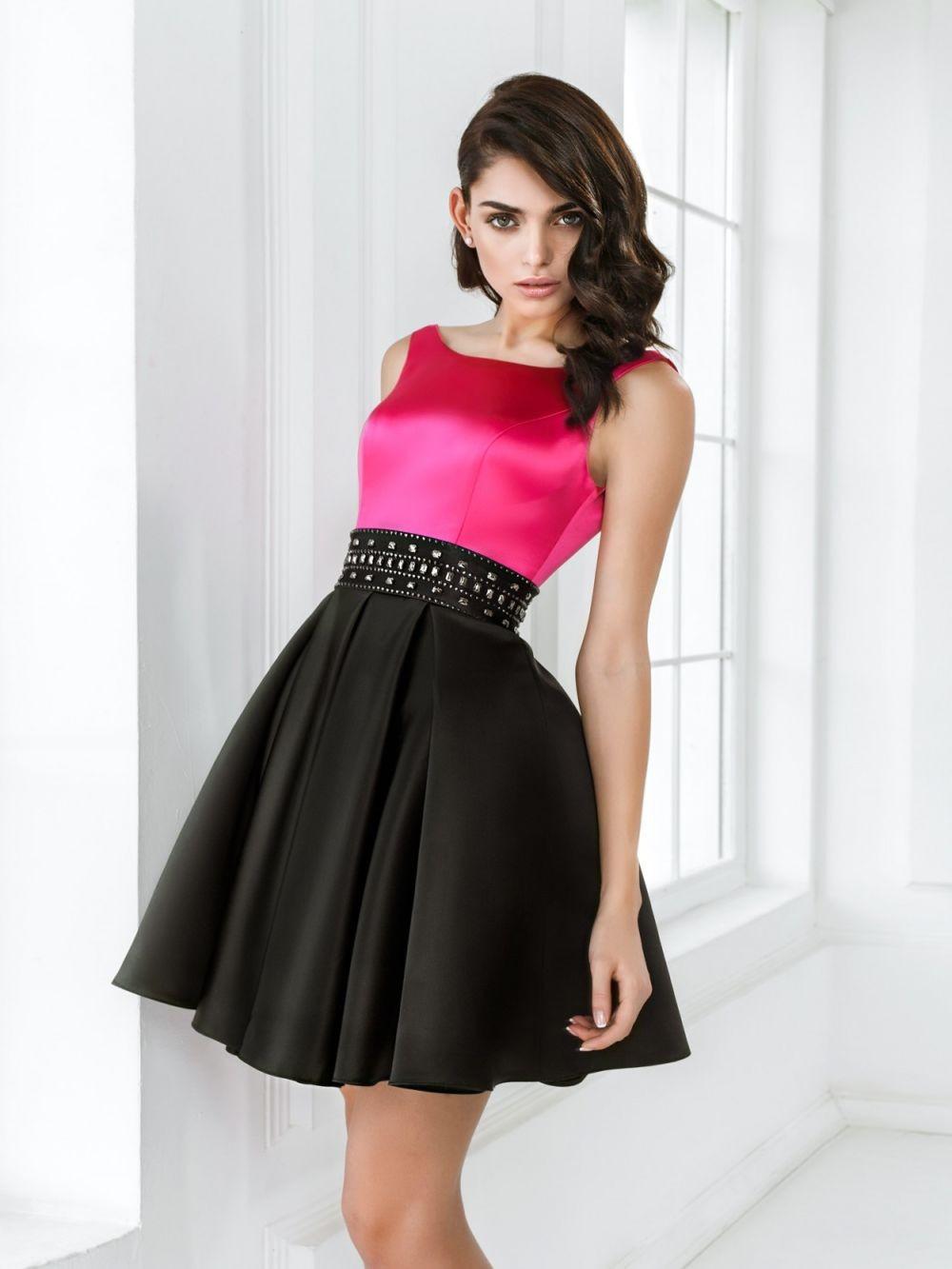 Вечерние платья 2019 фото новинки короткие на выпускной: платье с поясом,розового цвета с черной юбкой