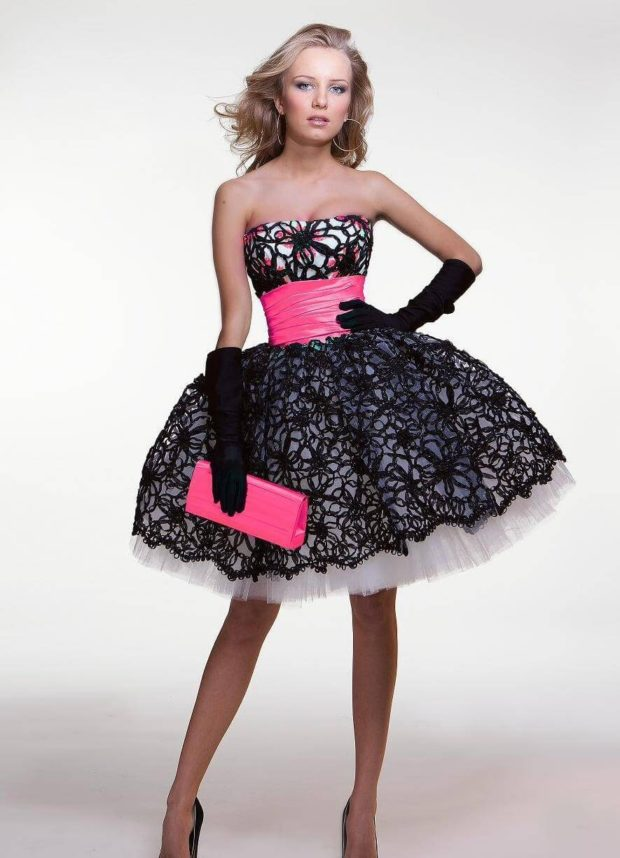 с поясом и сумочкой черный белый розовый