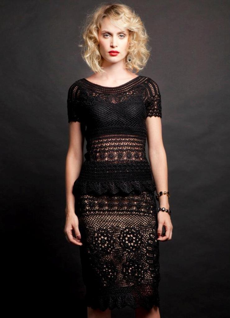 платье вязанное крючком рукав короткий черное