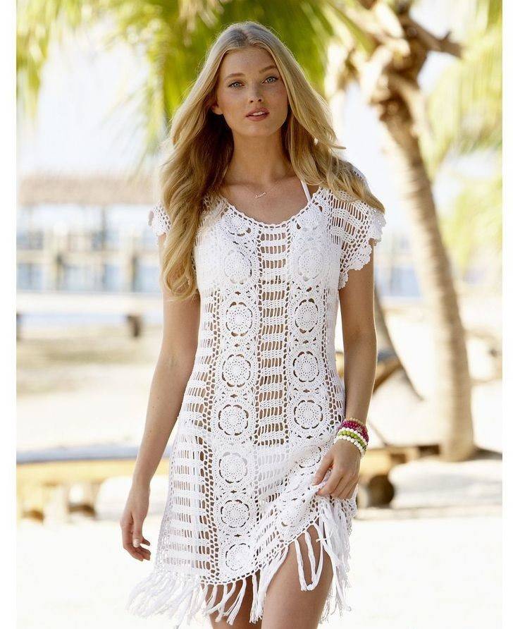 платье вязанное крючком белое рукав короткий