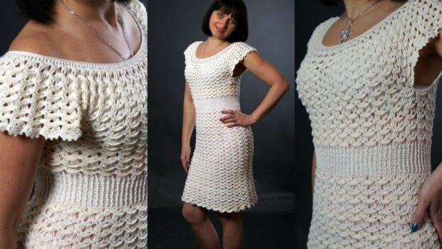 платье вязанное крючком белое  по колено