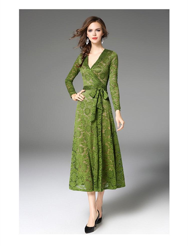 платье вязанное крючком зеленое миди