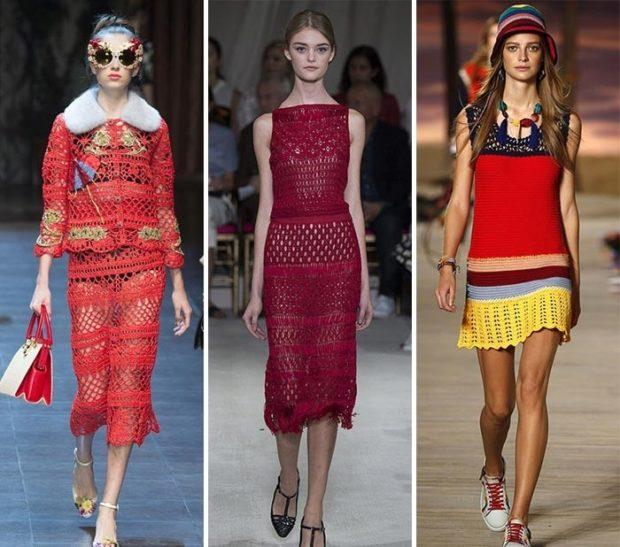 платье вязанное крючком красное бордовое цветное миди